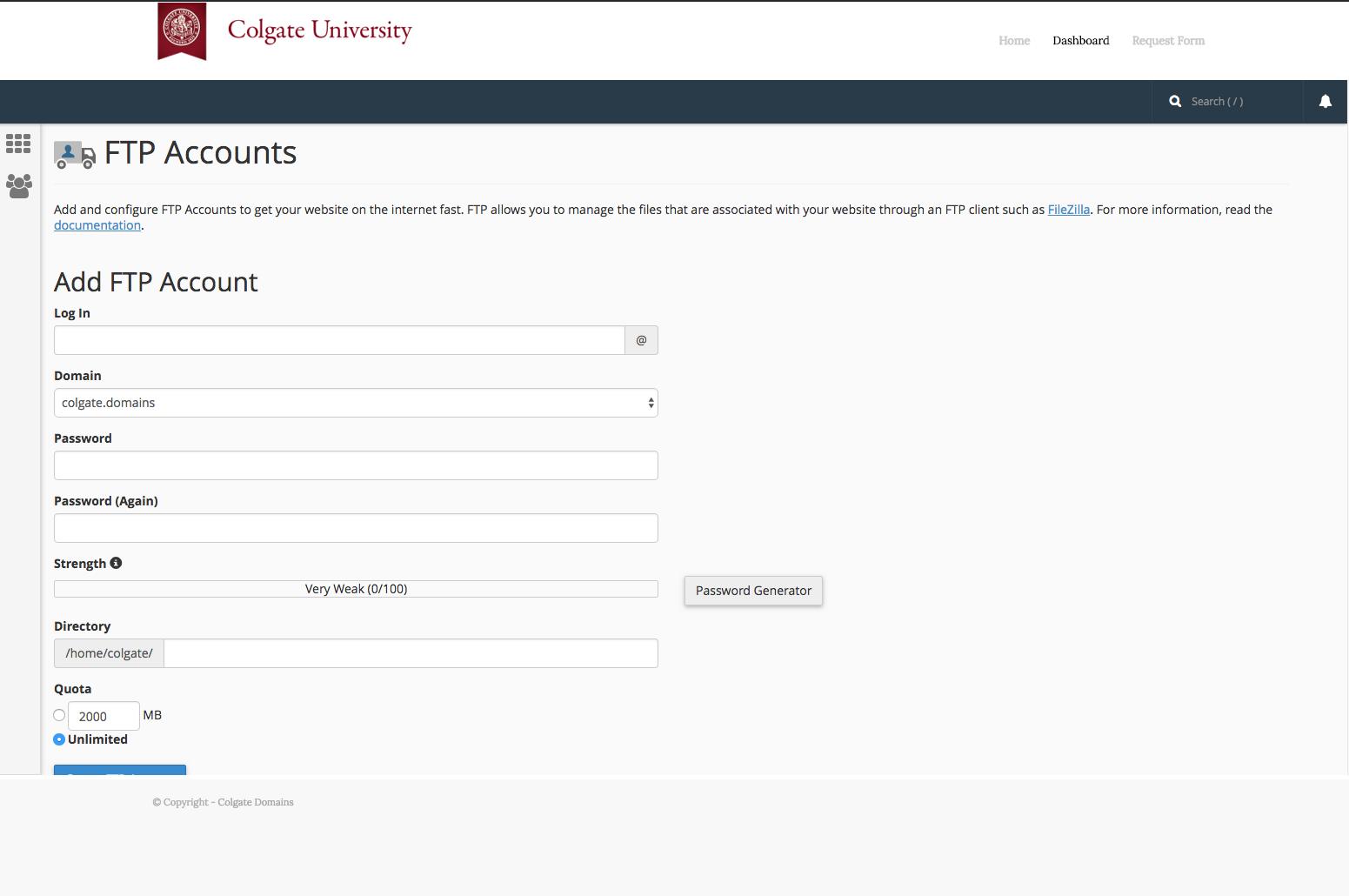 Add FTP account window